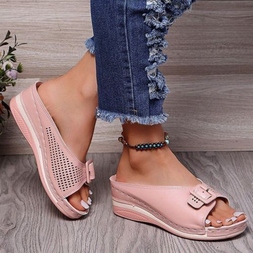 LEATHER SOFT FOOTBED ARCH-SUPPORT SANDALS