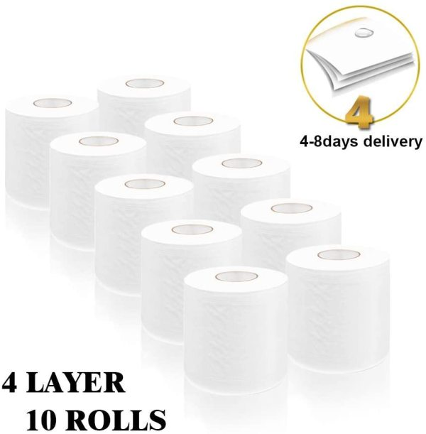 [10 Rolls]Ultra Soft White Toilet Paper 180g Highly Absorbent - Fit Into Standard Hand Towel Dispensers, for the Washroom, Kitchen Workshop or Restaurant Hollow Replacement Roll Paper Ship From US, Arrived 3-6 Day