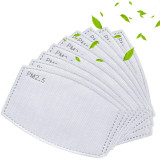 20Pcs PM2.5 Filters for Reusable Cloth Mask Washable Neck Gaiter Face Scarf Insert 5 Layers Replaceable Adult Activated Carbon Anti Haze Filter