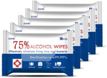 10 packs of 75% wet wipes, cleaning wipes, hand wipes, large wipes for personal and family use, used for disinfection, can kill 99.99% of bacteria.