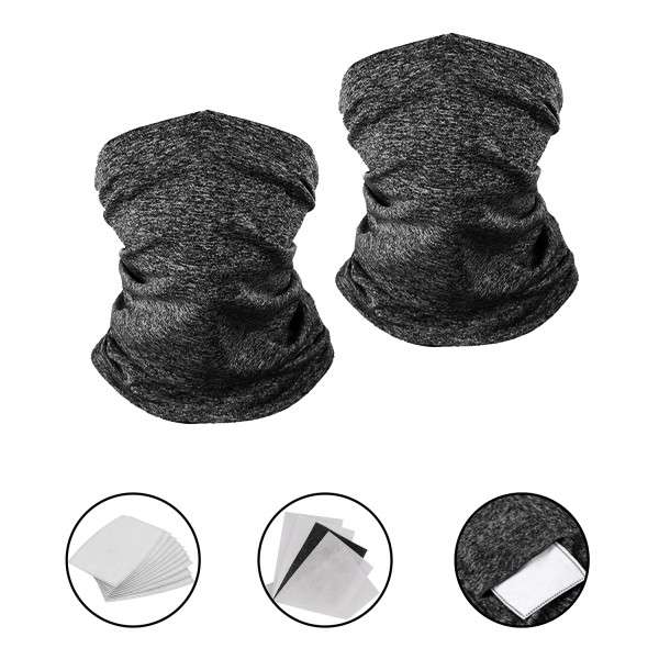 2 Pack Magic Face Scarves with 10 Pcs PM2.5 Carbon Filters Unisex Seamless Face Bandana