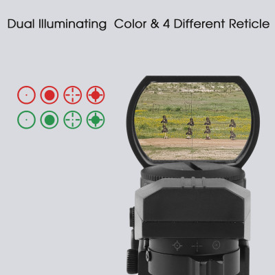Red Green Dot Gun Sight Paintball Sights Scope Reflex Sight with 4 Reticles, Include Battery, Black