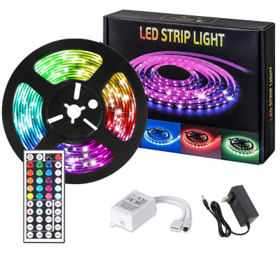 Led Strip Lights 16.4 FT/5M, Flexible Color Changing RGB Led Light Strip 5050SMD 150 LEDs, Modern LED Tape Lights Kit with 44 Keys IR Remote Controller and 12V Power Adapter Supply.