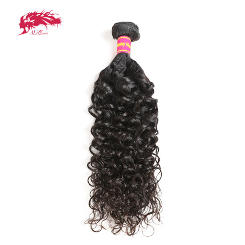 Ali Queen Brazilian Hair Water Wave Remy Hair Weave Bundles 12-28 inches Natural Color 100% Human Hair Weaving