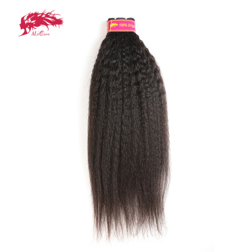 Ali Queen Hair Yaki Straight Human Hair Virgin Hair Extension 14-24 inches Brazilian Hair Weave Bundles