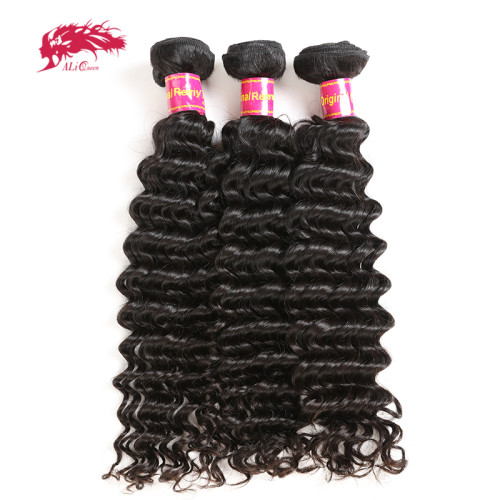 Ali Queen Hair Deep Wave Brazilian Hair Weave Bundles Remy Hair Weaving 12 -24 inches Human Hair Extension Natural Color