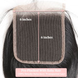Ali Queen Swiss 6x6 Lace Closure Pre-Plucked With Baby Hair 10~20inches Brazilian Remy Human Hair Straight Closure