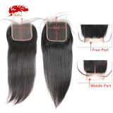 Ali Queen 4x4 Swiss Lace Closure Pre-Plucked With Baby Hair 10~20inches Brazilian Straight Virgin Human Hair Closure