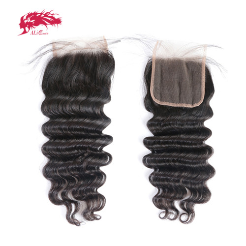 Ali Queen Hair Brazilian Loose Deep Lace Closure With Baby Hair Virgin Hair 4*4 Swiss Lace with 130% density Free Shipping