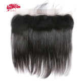 Ali Queen Hair 13x4 Lace Frontal Closure Brazilian Straight Hair Free Part Pre-Plucked With Baby Hair Natural Color