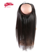 Brazilian Straight Virgin Human Hair Pre Plucked Hairline 360 Lace Frontal With Elastic Bangs Natural Color Ali Queen Hair