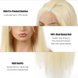 13x4 Remy Straight Hair Wigs Lace Front 613# Blonde Hair Wig Human Hair Wigs 150 Density