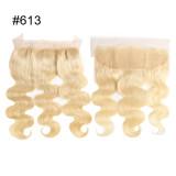 Ali Queen Hair 613# Pre-Plucked Lace Frontal Brazilian Virgin Human Hair Ear to Ear 13x4 Blonde Lace Frontal