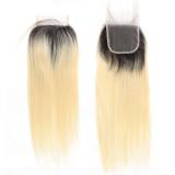 Ali Queen Hair Brazilian Virgin Hair 1b613# Lace Closure Straight Hair Closure Pre-Plucked 4x4 Free Part 130% Density
