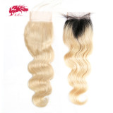 Ali Queen Hair Brazilian Body Wave 1b613# Virgin Hair Lace Closure 4x4 Free Part 100% Human Hair Pre-Plucked Hairline