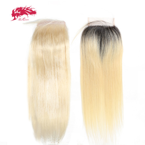 Ali Queen Hair Brazilian Virgin Hair 1b613# Lace Closure Straight Hair Closure Pre-Plucked 4x4 Free Part 130% Density