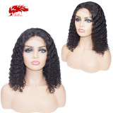 150 Density Lace Front Wigs Virgin Remy Hair Water Wave Pre-Plucked Short Bob Wigs