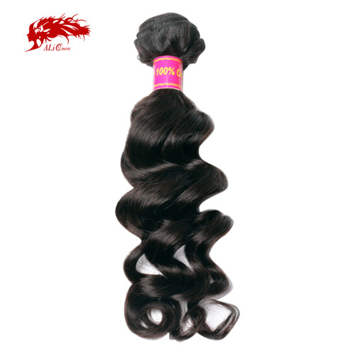 Ali Queen Hair Brazilian Virgin Hair Natural Wave Human Hair Weave Bundles Natural Color 10-34 Inches Mix Length