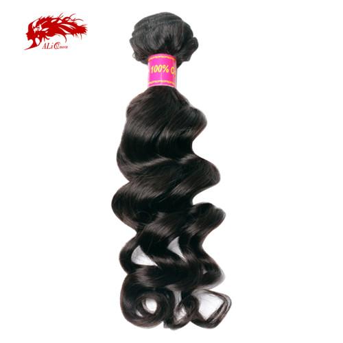 Ali Queen Hair Brazilian Virgin Hair Natural Wave Human Hair Weave Bundles Natural Color 10-34 Inches Mix Length