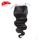 Ali Queen 4x4 Swiss Lace Closure Pre-Plucked With Baby Hair 10~20inches Brazilian Body Wave Virgin Human Hair Closure