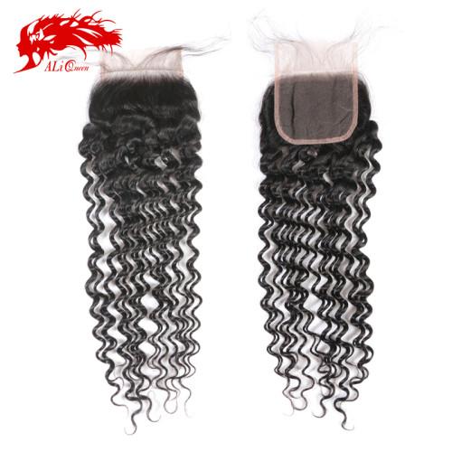 Ali Queen Hair Lace Closure Brazilian Virgin Human Hair Deep Wave 4x4 Lace Closure With Baby Hair Free Part