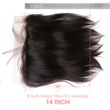 13x6 Lace Frontal Closure Brazilian Straight Hair Free Part Pre-Plucked With Baby Hair Natural Color Ali Queen Hair