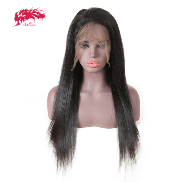 Ali Queen Hair Brazilian Human Hair Straight Full Lace Wigs Pre Plucked 130% 150% Denisty 1b Lace Wigs
