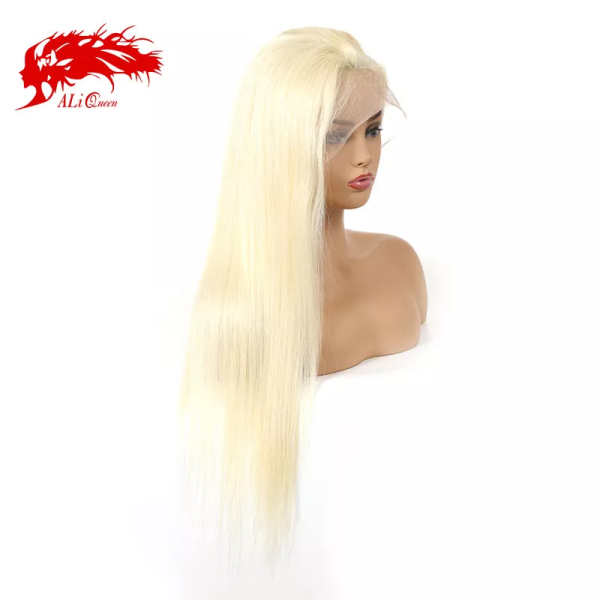 613# Brazilian Remy Human Hair Straight Full Lace Wigs Lace Wigs Ali Queen Hair Pre Plucked 130% 150% Denisty