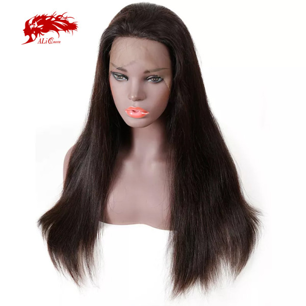 Ali Queen Hair Products Remy Brazilian Straight Human Hair Wig 360 Lace Frontal Wig Pre Plucked Hairline 180% Density