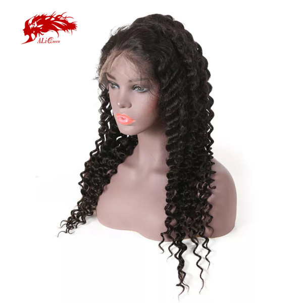 Ali Queen Brazilian Remy Human Hair Wigs 360 Lace Frontal Wig 180% Density Deep Wave Natural Pre Plucked Hairline With Baby Hair
