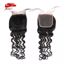 Ali Queen Hair Brazilian Virgin Hair Natural Wave Lace Closure 4x4 Natural Color Free Part Lace Closure With Baby Hair