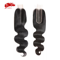 Ali Queen Raw Virgin Human Hair Lace Closure Brazilian Body Wave Hair Closure 2X6 Middle Part 12 -20 inches In Stock Natural Color