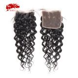 Ali Queen Hair Water Wave Brazilian Virgin Hair 10-20 inches 100% Human Hair 4x4 Free Part Swiss Lace Closure With Baby Hair