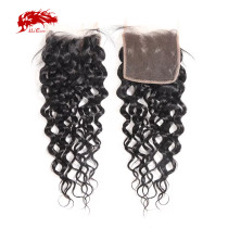 Ali Queen Hair Water Wave Brazilian Virgin Hair 10-20 inches 100% Human Hair 4x4 Free Part Swiss Lace Closure With Baby Hair