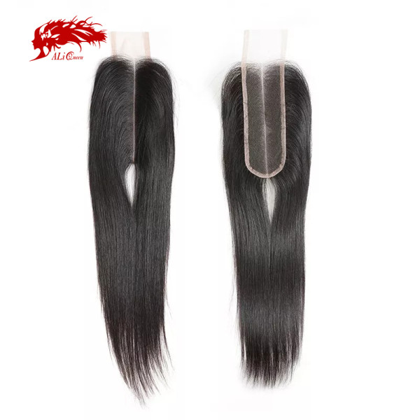 Ali Queen Raw Virgin Human Hair Lace Closure Brazilian Straight Hair Closure 2X6 Middle Part 8-20inches In Stock Natural Color
