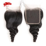 Ali Queen Hair Brazilian Loose Wave Lace Closure Virgin Hair 4*4 Swiss Lace With 130% density 10 -20 inches NaturalBlack Color