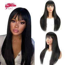Straight Human Hair Wigs With Bangs Brazilian Virgin Remy Hair Wigs For Woman 8 -26  Colored Full Machine Wigs