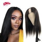U Part Wig Glueless Straight Human Hair Wigs 180% Density Ali Queen Hair Wigs For Women Brazilian Remy Human Hair Natural Black