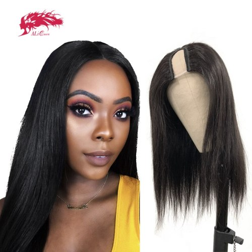 U Part Wig Glueless Straight Human Hair Wigs 180% Density Ali Queen Hair Wigs For Women Brazilian Remy Human Hair Natural Black