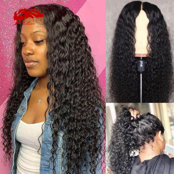 Deep Wave 13x4 13x6 Lace Front Wig Natural Black Lace Frontal Wig Remy 130% 150% Density Brazilian Deep Wave Curly Human Hair Wigs For Women
