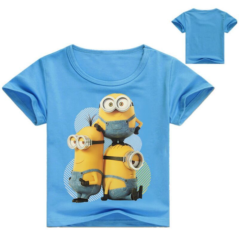 Summer Baby Boys Girls O Neck Cotton T Shirt Kids Tops Minion Print Cute Cartoon Tees