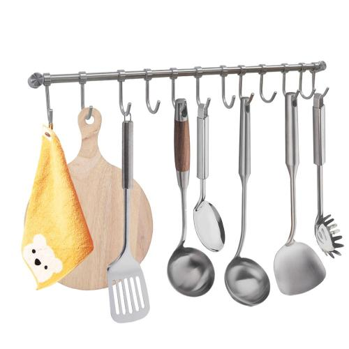 Kitchen Sliding Hooks Utensil Hangerd Stainless Steel Holder Pot Rod Hanger Wall Shelf Kitchen Wall Mount