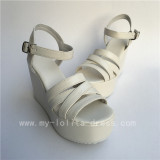 Girl's White Matte Straps Lolita High PLatform Sandlas