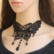 Gothic Black Lace Pendant Lolita Big Butterfly Girls Choker