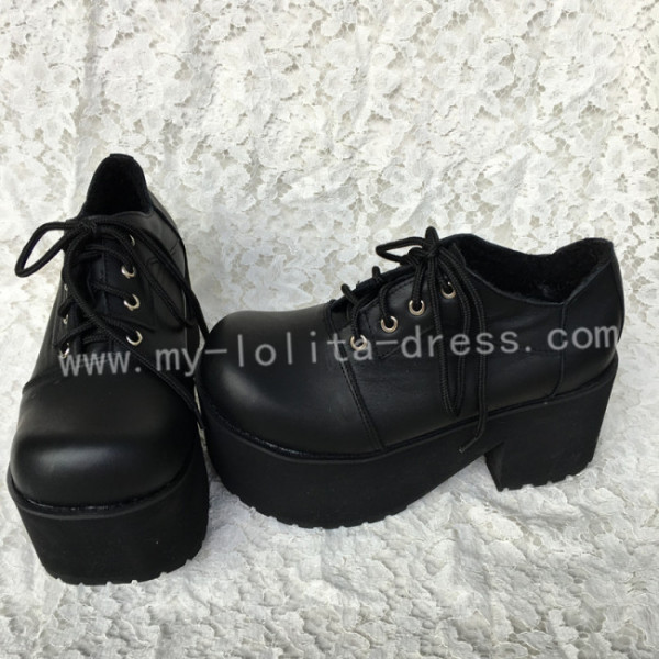 Gothic Black Lolita Heels Shoes with Platform