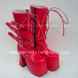Beautiful Sweet Red Square Heel Boots
