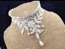 White Sweet Flower Leaves Lolita Choker Fake Collar