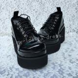 Glossy Black Lolita Heels High Platform