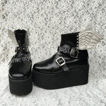 Gothic Matte Black Lolita High Platform with Wings