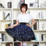 Sweet Dark Blue Constellation Printed Lolita Pleated Skirt